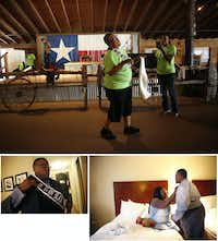 "(clockwise from top) Trenton dances by the stage during the Black Trans Advocacy Conference ""family day"" at Circle R Ranch in Flower Mound on Saturday, April 29, 2017. The night before, he donned his sash and got help with his bowtie from his fiancee Bridget Charleston before the Black Trans Advocacy Conference gala.(Rose Baca/The Dallas Morning News)"