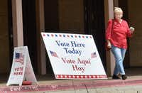 Peggy Capps walks out of the Denton Civic Center after casting her ballot Monday on the first day of early voting for city and school elections on May 6.(Barron Ludlum/Special to DRC)