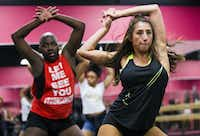 Brent BreShon and Macy Hernandez participate in a Twerkout with Cam class at Power House School of Dance in Dallas. (Ashley Landis/The Dallas Morning News)