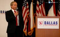 Phillip Huffines, chairman of the Dallas County Republican Party, makes an announcement during an election watch party at the Westin Dallas Park Central hotel in Dallas, Tuesday, Nov. 8, 2016.(Jae S. Lee/Staff Photographer)