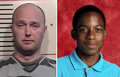 Roy Oliver, fired Balch Springs police officer, is shown in a Parker County Jail booking photo after he turned himself in on a charge of murder in the shooting and killing of 15-year-old Jordan Edwards (right).(Parker County Sheriff's Dept.)