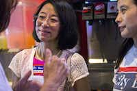 "Plano mayoral candidate Leilei ""Lily"" Bao talks with supporters at an election night campaign party on Saturday, May 6, 2017 at Texadelphia in Plano.(Ashley Landis/Staff Photographer)"