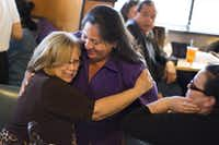 Julia Suarez-Macias (left) hugs Monica Alonzo, Dallas City Councilwoman representing District 6, during an election night party May 6, 2017, at Buena Vista Restaurant in Dallas, Texas.(Andrew Buckley/Special Contributor)