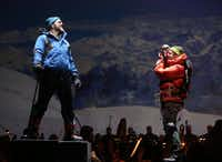 Michael Mayes (left) as Doug Hansen and Andrew Bidlack as expedition leader Rob Hall rehearsed the Dallas Opera's <i>Everest</i> at the Winspear Opera House in Dallas.(Rose Baca/Staff Photographer)