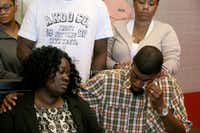 Odell Edwards wipes away tears as he sits with his wife, Charmaine Edwards, listenintg to their attorney Lee Merritt talking about the death of their son, Jordan Edwards, in a police shooting Saturday in Balch Springs, Texas in Merritt's law office in Dallas Monday, May 1, 2017. (Guy Reynolds/Staff Photographer)
