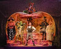 Allison Bret, Paul T. Taylor, Christopher Sykes, Jori Jackson, Seth Magill as their characters Ladybug, Old Green Grasshopper, James, Miss Spider, and Earthworm; (above) Alex Heika as Centipede in <i>James and the Giant Peach p</i>resented by Dallas Children's Theater.(Karen Almond)
