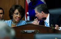 House Financial Services Committee Chairman Rep. Jeb Hensarling, R-Texas, talks with the committee's ranking member Rep. Maxine Waters, D-Calif. on Hill in Washington, Tuesday, May 2, 2017.(<p></p><p>Manuel Balce Ceneta</p><p></p>/Associated Press)