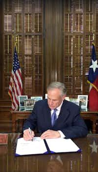 Texas Governor Greg Abbott signed Senate Bill 4 on Facebook Live on Sunday.(/)