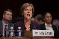 Sally Yates, the former acting attorney general, testifies before a Senate Judiciary subcommittee hearing on Russia's alleged interference in last year's election. (Stephen Crowley/The New York Times)
