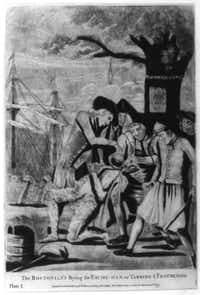 """The Bostonian's paying the excise-man, or tarring & feathering:"" This print from 1774 shows five men forcing a tarred and feathered customs officer to drink from a teapot. A bucket and a liberty cap are on the ground at his feet. They stand beneath the ""Liberty Tree"" from which a rope with a noose hangs; in the background, shadowy figures on a ship dump tea overboard.(Library of Congress)"