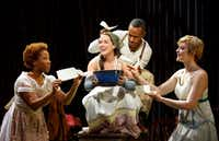 Laurie Veldheer stars as Cinderella in<i> Into the Woods.&nbsp;</i>&nbsp;The national tour of the Fiasco Theater production will have its Dallas premiere presented by AT&amp;T Performing Arts Center as part of its Broadway Series May 16-28.&nbsp;(<div>Joan Marcus</div>)