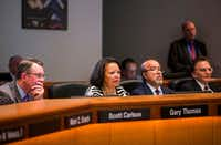 The board of the Dallas Area Rapid Transit, including Richard Carrizales (second from right), votes on a rail corridor on Tuesday, Oct. 25, 2016 at DART headquarters in Dallas.(Ashley Landis/Staff Photographer)