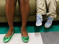<p>N.W. Harllee Early Childhood Center&nbsp;Principal Onjaleke Brown wears her special green shoes three days a week. She said the shoes help her connect with her students.</p>(David Woo/Staff Photographer)