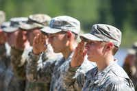 First Lt. Shaye Haver (right) of Copperas Cove in Central Texas saluted during her graduation from the U.S. Army's Ranger School in 2015 at Fort Benning, Ga. (File Photo/Getty Images)