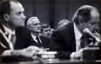 William Sessions, center, director of the FBI, before he was fired by President Bill Clinton, during a Congressional hearing, March 9, 1993. Sessions had been the only director fired in the FBI's 109-year history until President Donald Trump fired James Comey on Tuesday. (1993 File Photo/The New York Times)