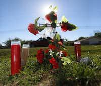 A makeshift memorial was set up on Shepherd Lane near Baron Drive, near where Jordan Edwards was shot.(Ron Baselice/Staff Photographer)