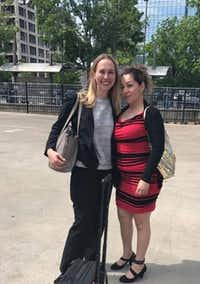 Immigration attorney Amalia Wille poses with her client Marta Hernandez outside the Dallas courthouse in April. (Amalia Wille)