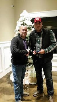 Balch Springs Officer Tyler Gross (right) with Police Chief Jonathan Haber. Gross was the 2016 Balch Springs officer of the year.(Facebook)