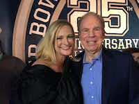 "Jennifer Sampspn and Roger Staubach ran into each other on the ""Blue Carpet"" at the Dallas Cowboys' 25th Super Bowl Anniversary in February.(Cheryl Hall/Staff)"