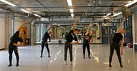 From left, Michael Garcia, Ricardo Hartley, Kade Cummings, Zane Unger and Todd Baker warm up in the dance studio at Booker T. Washington High School for the Performing and Visual Arts in Dallas, Thursday, May 11, 2017. They have been accepted to attend the Juilliard School in New York City. (Jae S. Lee/Staff Photographer)