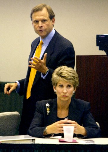 Then-state Rep. Steve Wolens, with his wife and then-Dallas Mayor Laura Miller, in 2003, when he passed a law making it harder for people to procure mail-in ballot applications.(File Photo)