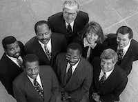 Don Hill (second row, first on the left) was a partner in the law firm White Hill, an African-American firm in Dallas that collaborated with Jones Day, one of the largest firms in the U.S.  (1993 File Photo)