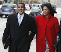 Former City Council member Don Hill and wife Sheila Farrington arrive at the Earle Cabell Federal Courthouse in downtown Dallas.(2010 File Photo/Staff)