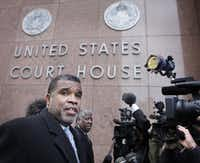 Don Hill talked to the media as he prepared to enter the Earle Cabell Federal Courthouse in downtown Dallas in 2010. (File Photo/Staff)