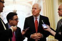 Senate Majority Whip John Cornyn of Texas, talked with reporters last week about President Donald Trump's decision to fire FBI Director James Comey.(Jacquelyn Martin/The Associated Press)