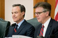 "Speaker Joe Straus, left, has asked Lt. Gov. Dan Patrick and the Senate to cooperate with the House on quickly passing a two-year state budget and a sunset ""safety net"" bill that can keep key state agencies open for another two years. That way, lawmakers can finish their work by May 29 and avoid a special session, Straus wrote Patrick Monday.(2016 File Photo/Texas Tribune)"