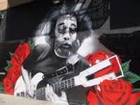 This mural of Jerry Garcia of the Grateful Dead appears in Haight-Ashbury near the townhouse that the band occupied in the late 1960s. (Robin Soslow)