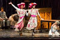 "Anthony Chatmon II (left) and Darick Pead as the Stepsisters perform with Laurie Veldheer as Cinderella during the opening night performance Tuesday of the Fiasco Theater production of ""Into The Woods"" at the Winspear Opera House.(Smiley N. Pool/Staff Photographer)"