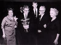 Ralph Votapek, winner of the first Van Cliburn International Piano Competition in 1962, is joined by competition chair Grace Ward Lankford (left), Van Cliburn (back), and competition founder Irv Allison and his wife, Jessie Allison.(DMN File Photo)