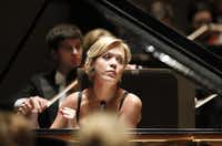 Pianist and former Van Cliburn winner Olga Kern performs Tchaikovsky's Piano Concerto No. 1 in B-flat minor for Piano and Orchestra with the Dallas Symphony Orchestra at the Meyerson Symphony Center in Dallas on March 31, 2010.   (File Photo/Staff)