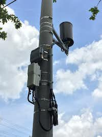 <p>A bill in the Texas House would allow cellular service providers to place small nodes like the one pictured here around Texas cities. Nodes, which allow faster access to data and help cellphones work in large crowds, can be up to 28 cubic feet under the bill. </p>(John Haislet/City of College Station)
