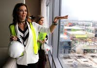 Dallas Cowboys executive vice president Charlotte Jones Anderson, left, and Laura Trussell McKoy, creative director & vice president interior design for Omni Hotels & Resorts, looks at the view from a plaza suite at the Omni Frisco Hotel at The Star in Frisco on Wednesday, April 26, 2017.(David Woo/Staff Photographer)