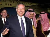 "<p>In 2004, when Jim Oberwetter (back left) was the U.S. ambassador in Saudi Arabia, he welcomed Secretary of State Colin Powell at the Riyadh Air Base, along with Powell's <a name=""firsthit""></a>Saudi counterpart, Prince Saud Al Faisal (second from right) and the Saudi ambassador in Washington, Prince Bandar bin Sultan. </p>(File Photo/The Associated Press)"
