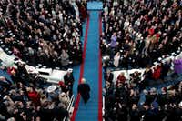 <p>Gentry Beach (far right, left of a woman in purple coat) was in attendance as President-elect Donald Trump arrived for his inauguration.</p>(Scott Olson/Getty Images)