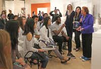 Bonnie Pitman talks with UT Southwestern Medical School students about items at the Dallas Museum of Art.(Louis DeLuca/Staff Photographer)