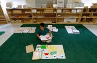Second-grader Andres Tovar, 7, completes his classwork during a Lower Elementary Dual Language class at Mata Montessori in Dallas, Friday, April 28, 2017.(Jae S. Lee/The Dallas Morning News)