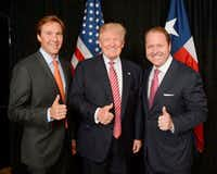 Tommy Hicks Jr. (left), Donald Trump and Gentry Beach.  Hicks and Beach, two Dallas businessmen, were credited with raising millions for Trump's presidential campaign.(Courtesy of Tommy Hicks Jr.)