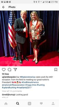 <p>An Instagram post by Kathryn Beach pictures her and President Donald Trump as she wears one of the hunting vests her business sells.</p>(The Dallas Morning News)