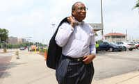 Dallas County Commissioner John Wiley Price looks downtown Dallas before leaving his office for a funeral on April 29 in Dallas.(Irwin Thompson/The Dallas Morning News)