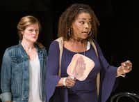 Liz Mikel (right) plays lawyer Matthew Harrison Brady, a part usually played by a white male, in Dallas Theater Center's production of <i>Inherit the Wind</i> at the Kalita Humphreys Theater in Dallas.(Robert W. Hart/Special Contributor)