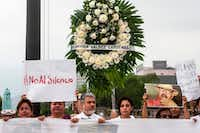 Journalists from the state of Nuevo Leon and members of civil organizations protest against the murder of Mexican journalist Javier Valdez this month.(Julio Cesar Aguilar/AFP/Getty Images)