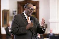 Sen. Royce West, D-Dallas, talks during discussion on the state budget as the Senate takes up the bill in chambers on Tuesday(Deborah Cannon/Austin American-Statesman)