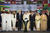 President Donald Trump is on his first international trip. His visit included a stop in Riyadh, Saudi Arabia, where he, King Salman (center) and other leaders stand before a glowing, translucent globe during the ceremonial opening of the Global Center for Combating Extremist Ideology. (Stephen Crowley/The New York Times)(STEPHEN CROWLEY/NYT)