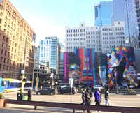A mural of Minnesotan Bob Dylan by Eduardo Kobra can be seen in downtown Minneapolis. (Sheryl Jean)