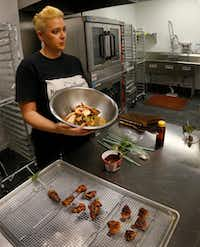 Browning's business delivers gift bouquets of fully cooked bacon rosettes.(Louis DeLuca/Staff Photographer)
