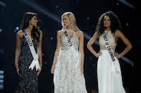From left Miss New Jersey USA Chhavi Verg, Miss Minnesota USA Meridith Gould and Miss District of Columbia USA Kara McCullough compete during the Miss USA contest Sunday, May 14, 2017, in Las Vegas. (AP Photo/John Locher)(John Locher/AP)